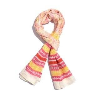 Yellow and Pink 100% Cotton Stripe Printed Scarf